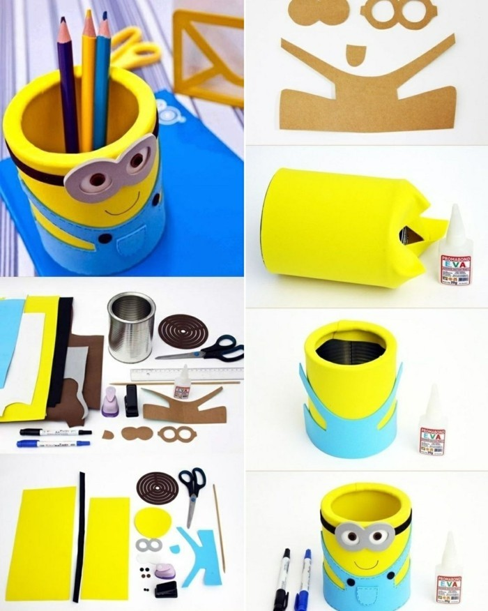 11 creativo-Bastelideen-Minion-estaño-Farbstifte-DIY-tijeras-papel-cartón