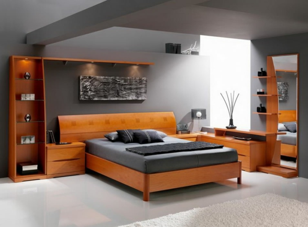 grey-wall-in-the-bedroom-modern design