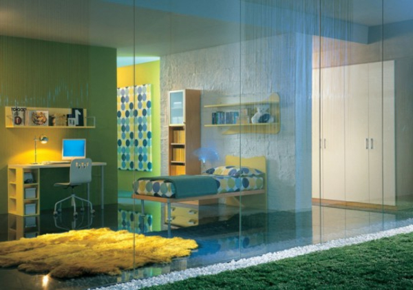 jugenzimmer-provide-blue-and-yellow-furniture, mur végétal