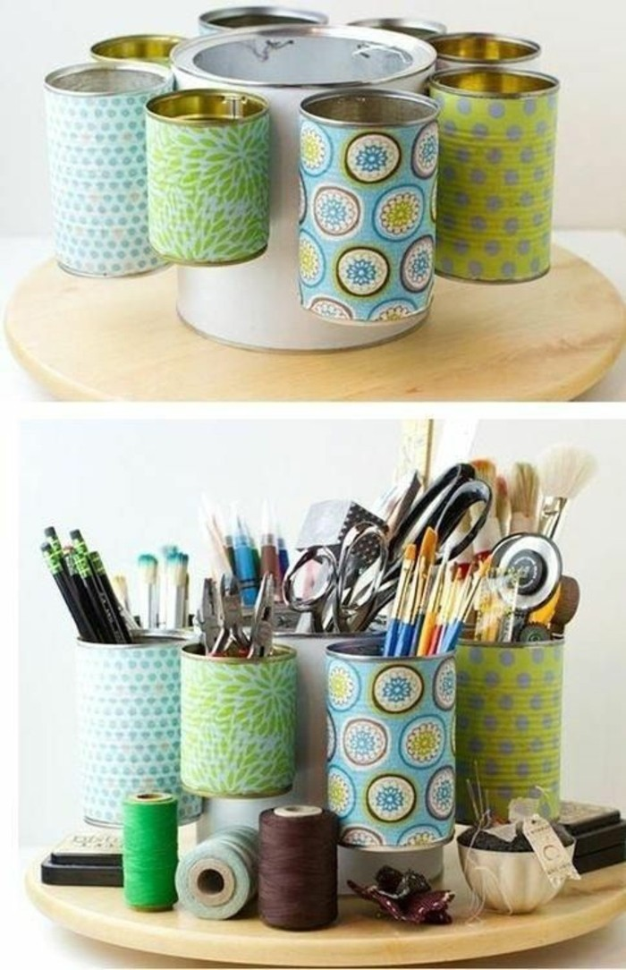 empty-latas-con-color-papel-decorar-pines halter-yourself-make-rosca-tijeras lápices
