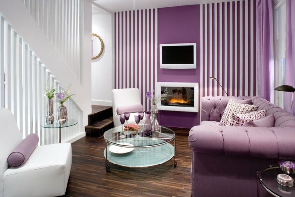 purple-bedroom-interesting-wall-design-glass-table